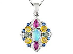 DJH397<br>.42ct Oval Ethiopian Opal, 1.96ctw Multi-sapphire And .19ctw White Zircon Silver Pendant W