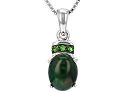 JCH153<br>Oval Cabochon Black Ethiopian Opal With .05ctw Russian Chrome Diopside Silver Pendant With
