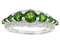 DOCX042<br>1.35ctw Round Chrome Diopside And .32ctw Round White Zircon Sterling Silver Ring