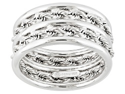 CNG350W<br>10k White Gold Double Rope Link And Polished Band Ring