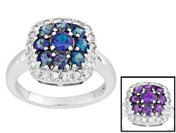 BCH359<br>1.23ctw Round Lab Created Color Change Alexandrite And .36ctw Round White Zircon Silver Ri