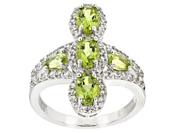 SMH043<br>1.62ctw Pear Shape And Oval Manchurian Peridot(Tm), .52ctw Round White Zircon Sterling Sil