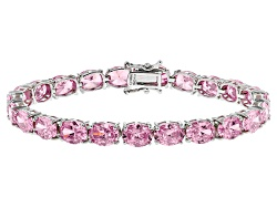 DOCLM4<br>Bella Luce (R) 41.00ctw Pink Diamond Simulant Rhodium Over Sterling Silver Bracelet (25.41