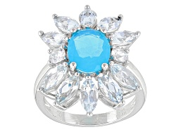 DOCX197<br>1.00ct Blue Ethiopian Opal With 2.00ctw Marquise Aquamarine And .35ctw White Zircon Silve