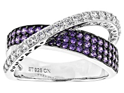 Bella Luce R 211ctw Purple And White Diamond Simulants Rhodium Over Sterling Silver