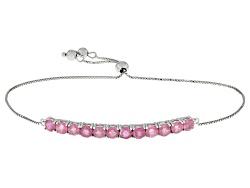 SMH472<br>3.96ctw Round Mahaleo(R) Pink Sapphire Sterling Silver Sliding Adjustable Bracelet