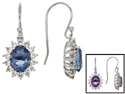 RRH134<br>3.00ctw Oval Color Change Blue Fluorite With 1.37ctw Round White Zircon Sterling Silver Ea