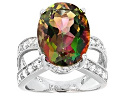 RRH142<br>11.05ct Oval Mango Magic(Tm) Mystic Topaz(R) And 1.02ctw Round White Topaz Sterling Silver