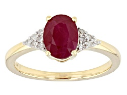 CMK038<br>1.27ct Oval Burmese Ruby With .09ctw Round White Diamond Accents 14k Yellow Gold Ring