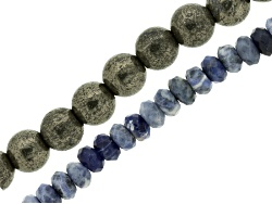JLW8588A<br>Sodalite 8mm Faceted Rondelle & Pyrite 10mm Smooth Round Large Hole Beads Strand Apx 8