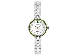 FTW3<br>Facets Of Time (Tm) .97ctw Round Chrome Diopside Sterling Silver Watch