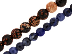 JLW8975<br>Mexican Red Snowflake Jasper 10mm & Sodalite 8mm Round Large Hole Beads Appx 8