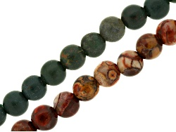 JLW8977<br>Matte Bloodstone And Jasper Mix & Bird's Eye Rhyolite 8mm Round Large Hole Beads Appx 8