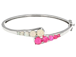 YAH319<br>2.19ctw Round Pink And 2.11ctw Round White Ethiopian Opal Sterling Silver Hinged Bangle Br
