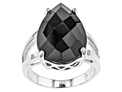 DOCX407<br>10.00ct Pear Shape Black Spinel Sterling Silver Solitaire Ring