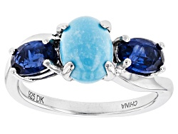 UAH017<br>1.15ct Oval Sleeping Beauty Turquoise And 1.05ctw Oval Kyanite Sterling Silver 3-stone Rin