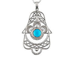 JJH160<br>6mm Round Cabochon Blue Sleeping Beauty Turquoise Sterling Silver Hamsa Pendant With Chain