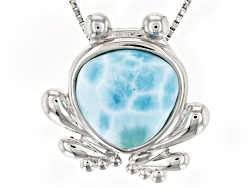 JJH263<br>12mm Trillion Cabochon Larimar Sterling Silver Frog Pendant With Chain