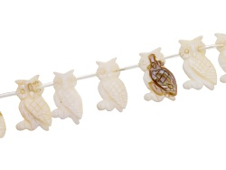 JLW9133C<br>Mother Of Pearl 12x25mm Carved Owl Shape Top Drilled Bead Strand Appx 15-16
