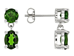 JJH520<br>2.38ctw Oval And Round Russian Chrome Diopside Sterling Silver 2-stone Dangle Earrings