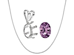 JMK051<br>Tanzanian Lavender Spinel Avg .60ct 7x5mm Oval; Sterling Silver Pendant Casting; Chain
