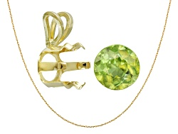 JMK052<br>Madagascar Sphene Avg 1.00ct 6mm Round; 14kt Yellow Gold Pendant Casting; 14kt Yellow Gold